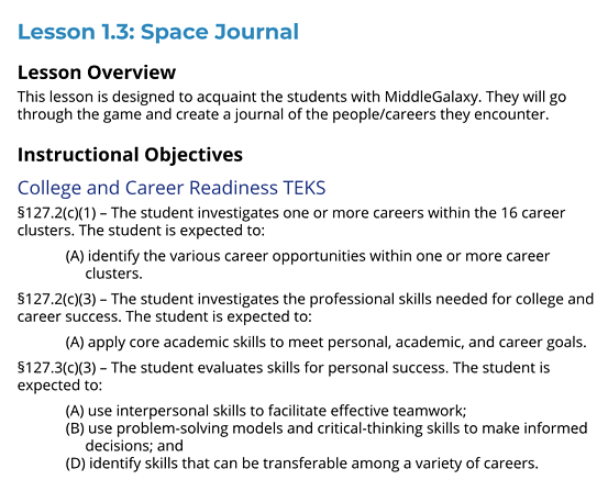 Space Journal Lesson overview