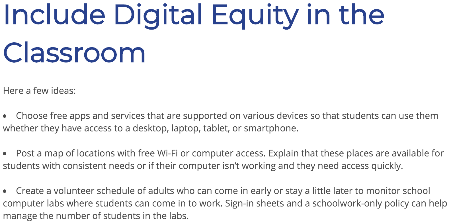 Snapshot of Digital Equity in Classroom