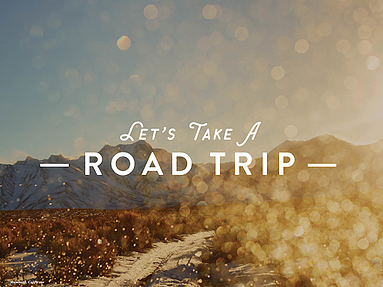 """Open skies visual """"let's take a road trip"""""""