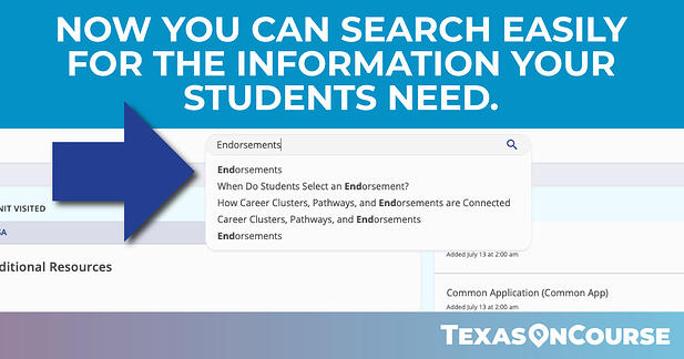 Search Function in the Texas OnCourse Academy