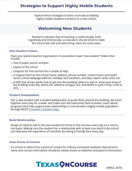 Welcoming Highly Mobile Students