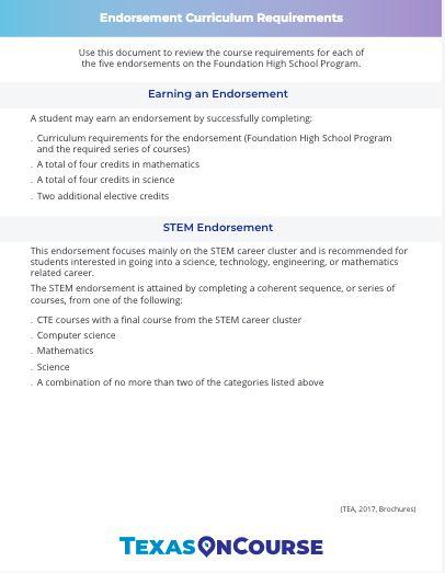 Endorsement Curriculum Reqs